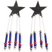 Taxco Mexico Sterling Silver Star Bead Dangle Pierced Post Earrings Signed TM-120