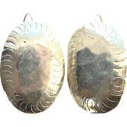 Vintage Sterling Silver Concho Pierced Earrings Southwestern Style