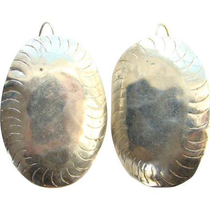 Vintage Sterling Silver Concho Pierced Earrings Southwestern Style