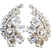 Fabulous Juliana Clear Rhinestone Climber Clip Earrings DeLizza Elster