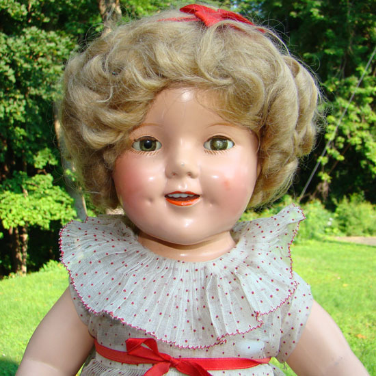 C1935 Ideal Shirley Temple Composition Doll Curly Top in Red 18 Inch