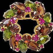 Vintage Rhinestone Wreath Brooch Fuchsia Topaz Olivine Stones Unsigned