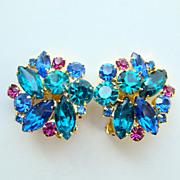 Juliana DeLizza Elster Rhinestone Clip Earrings Blue Teal Fuchsia
