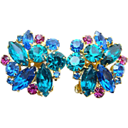 Juliana DeLizza Elster Rhinestone Clip Earrings Blue Teal Fuchsia
