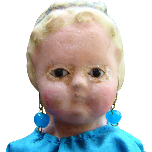 C1850s German Doll Glass Eyed Wax Over Papier Mache Squeaker 15 Inch