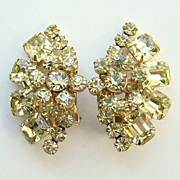 Juliana DeLizza Elster Citrine Rhinestone Clip Earrings Flower Sprays