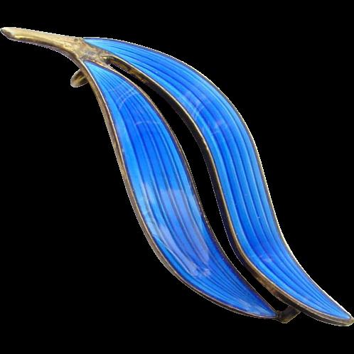 Vintage Modernist Norway Aksel Holmsen Blue Guilloche Enamel Double Leaf Pin Signed