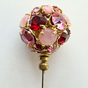 Vintage Rose Pink Ruby Red Rhinestone Orb Hat Pin 4 Inch C1910s