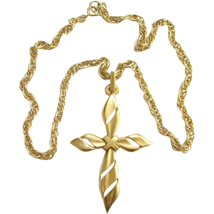 1970s Crown Trifari Satin Goldtone Pendant Necklace Signed 24 Inch Costume Jewelry