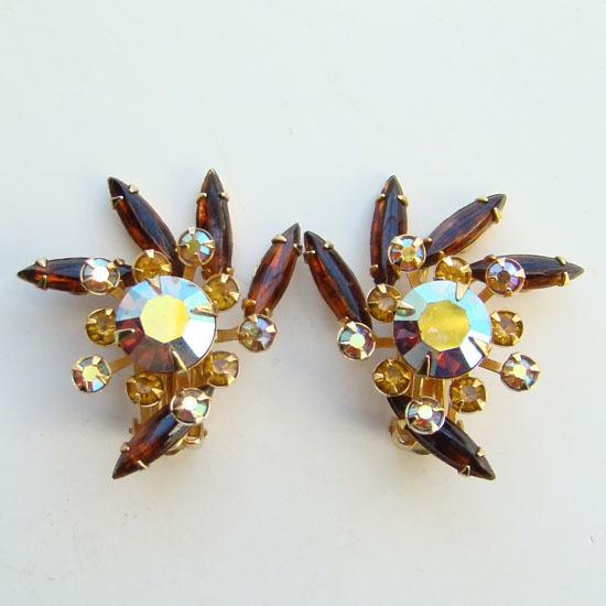 Vintage Beau Jewels Rhinestone Swirl Clip Earrings Topaz Navettes Signed