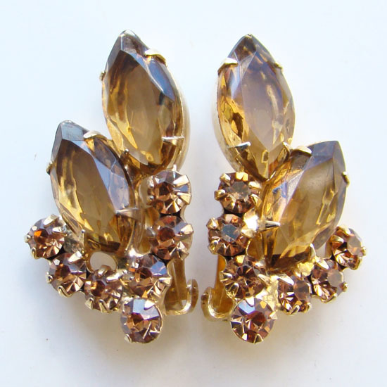Juliana DeLizza & Elster Topaz Champagne Rhinestone Clip Earrings
