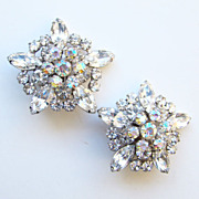 Juliana DeLizza & Elster Clip Earrings Clear Rhinestone Aurora Borealis Large