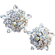 Vintage DeLizza & Elster Juliana Snowflake Clip Earrings Clear Rhinestone Large Climber Beautiful