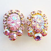 Juliana DeLizza & Elster Rhinestone Clip Earrings Pink Oval Floral Pressed Glass