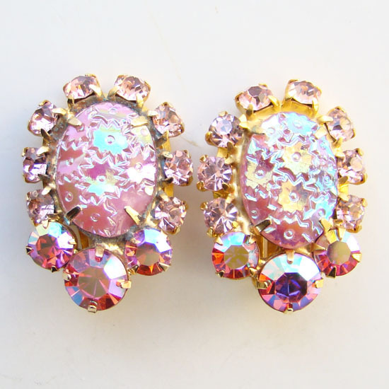 Juliana DeLizza & Elster Rhinestone Clip Earrings Pink Oval Floral Pressed Glass