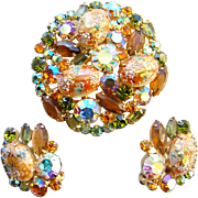 Juliana DeLizza & Elster Rhinestone Brooch Earrings Coral Gold Easter Eggs