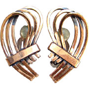 Vintage Renoir Modernist Abstract Copper Clip Earrings Signed Bohemian Boho Chic