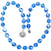 Vintage Blue Aurora Borealis Crystal Bead Necklace Clear Rhinestone Clasp