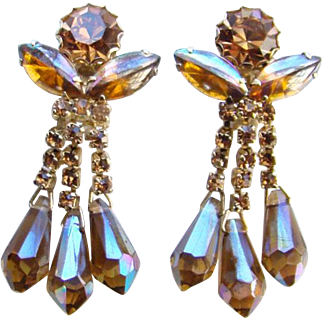 Vintage Topaz AB Rhinestone Clip Earrings Cabochon Navettes Long Pendulum Dangles
