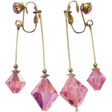 Vintage Pink Crystal Rhinestone Clip Earrings Dangle Front and Back