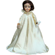 1961 Jacqueline Portrait Doll in White Satin Inaugural Ball Gown Coat 2210 Madame Alexander