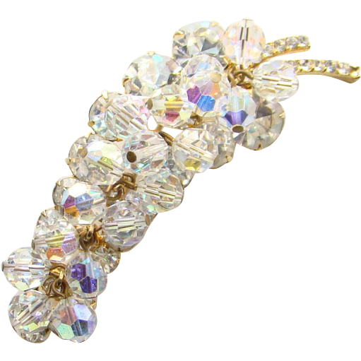 Juliana DeLizza Elster Clear Rhinestone Leaf Brooch Clear Bead Dangles