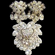 Juliana DeLizza Elster Clear Rhinestone Brooch Clip Earrings Set Lots of Dangles