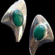 Vintage Southwestern Navajo Clip Earrings Sterling Silver Malachite Arrow Mark Signed