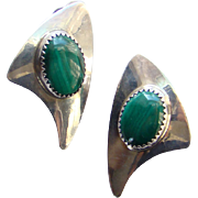 Vintage Southwestern Navajo Clip Earrings Sterling Silver Malachite Arrow Mark Signed