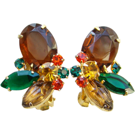 Vintage 1960s Rhinestone Clip Earrings Watermelon Topaz Amber Green