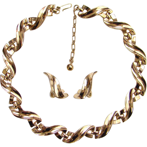 C1940s Crown Trifari Choker Link Necklace Clip Earrings Wave Design Gold Tone