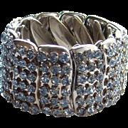 Vintage Light Sapphire Blue Rhinestone Expansion Bracelet Made in Hong Kong