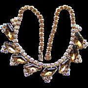 Vintage Sparkly Choker Necklace Large Coffin Shape Topaz Rhinestones Aurora Borealis