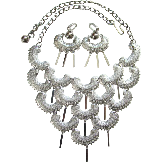 1973 Sarah Coventry Charisma Necklace Clip Earring Set Silvertone