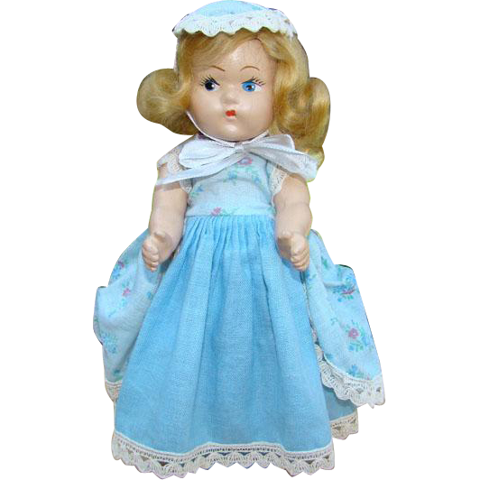 1943 Vogue Toddles Doll Bo Peep Rare Blue Version 8 Inch Composition
