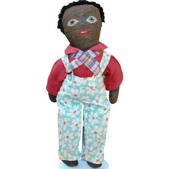 Old Black Cloth Doll Boy with Overalls Red Shirt Embroidered Face Blue Eyes
