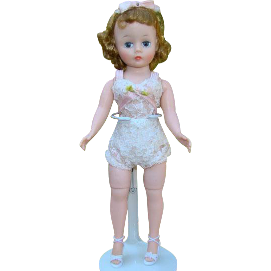 C1950s Madame Alexander Basic Cissette Doll Blonde With Hair Bow Chemise