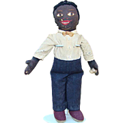 Fabulous Old Black Cloth Doll Man with Embroidered Face Pants Shirt