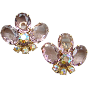 Fabulous Rhinestone Clip Earrings Light Amethyst Aurora Borealis Unsigned