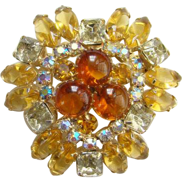 Vintage Amber Topaz Aurora Borealis Rhinestone Pin Brooch Open Back Stones