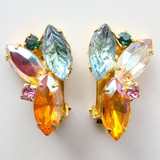 Vintage Rhinestone Clip Earrings Aqua Molded Glass Leaf Navettes