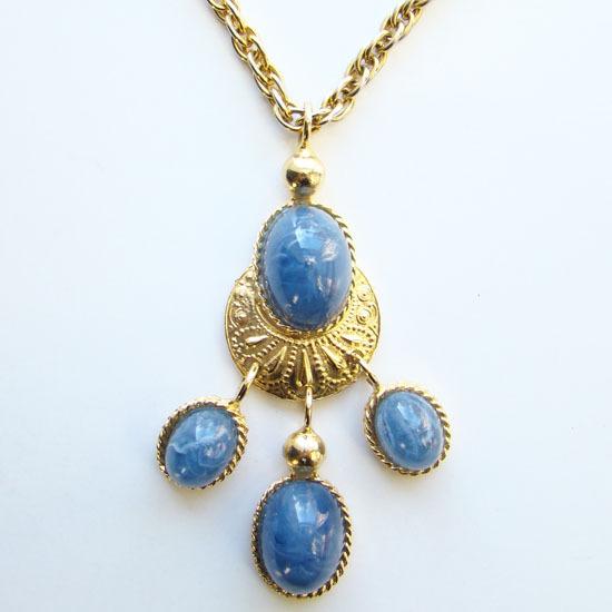 Vintage Les Bernard Etruscan Pendant Necklace Blue Lucite Acrylic Stones Signed