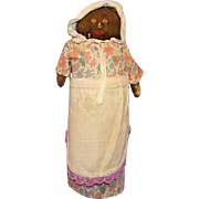 C1930s Primitive Black Americana Folk Art Mammy Cloth Rag Bottle Doll Doorstop 13 Inch