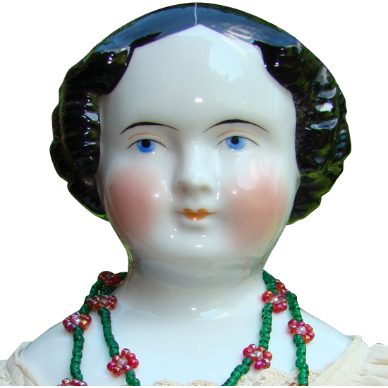 Antique German China Head Doll Black Hair Blue Eyes Original Dress 19in