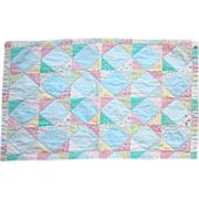 Cheater Cloth Doll Quilt Four Patch Design Pink Blue Yellow Green C1930-40 Vintage Pastel Calico