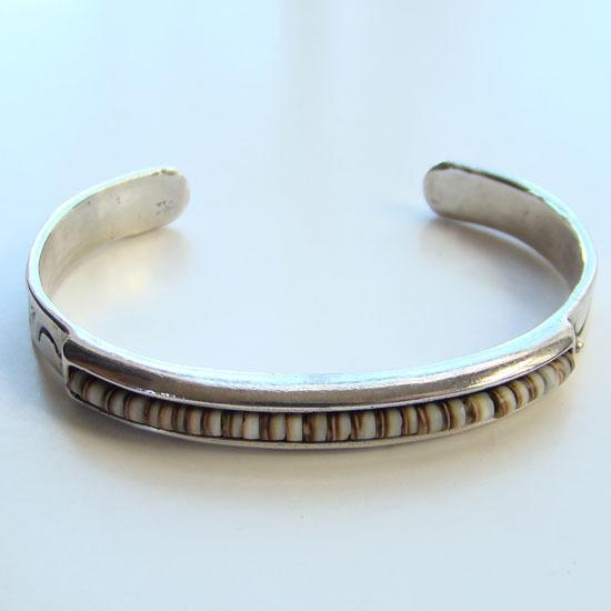Vintage Southwestern Cuff Bracelet Sterling Silver Channel Set Beads