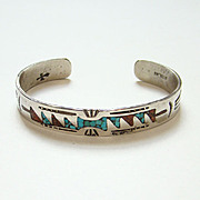 Southwestern Tribal Navajo Style Cuff Bracelet Sterling Silver Coral Turquoise Chip Mosaic Signed