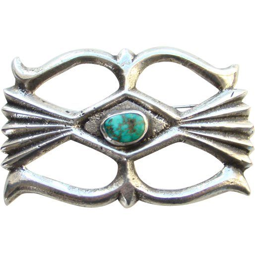 Vintage Navajo Sand Cast Sterling Silver Turquoise Pendant Brooch