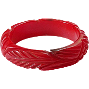Vintage Deeply Carved Red Bakelite Bangle Bracelet Long Leaves Cross Hatching Tested Bakelite Jewelry