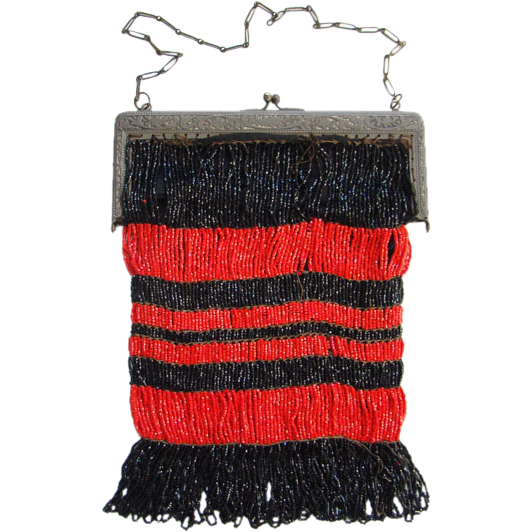Vintage Striped Beaded Bag Purse Red Black Glass Beads Repousse Frame
